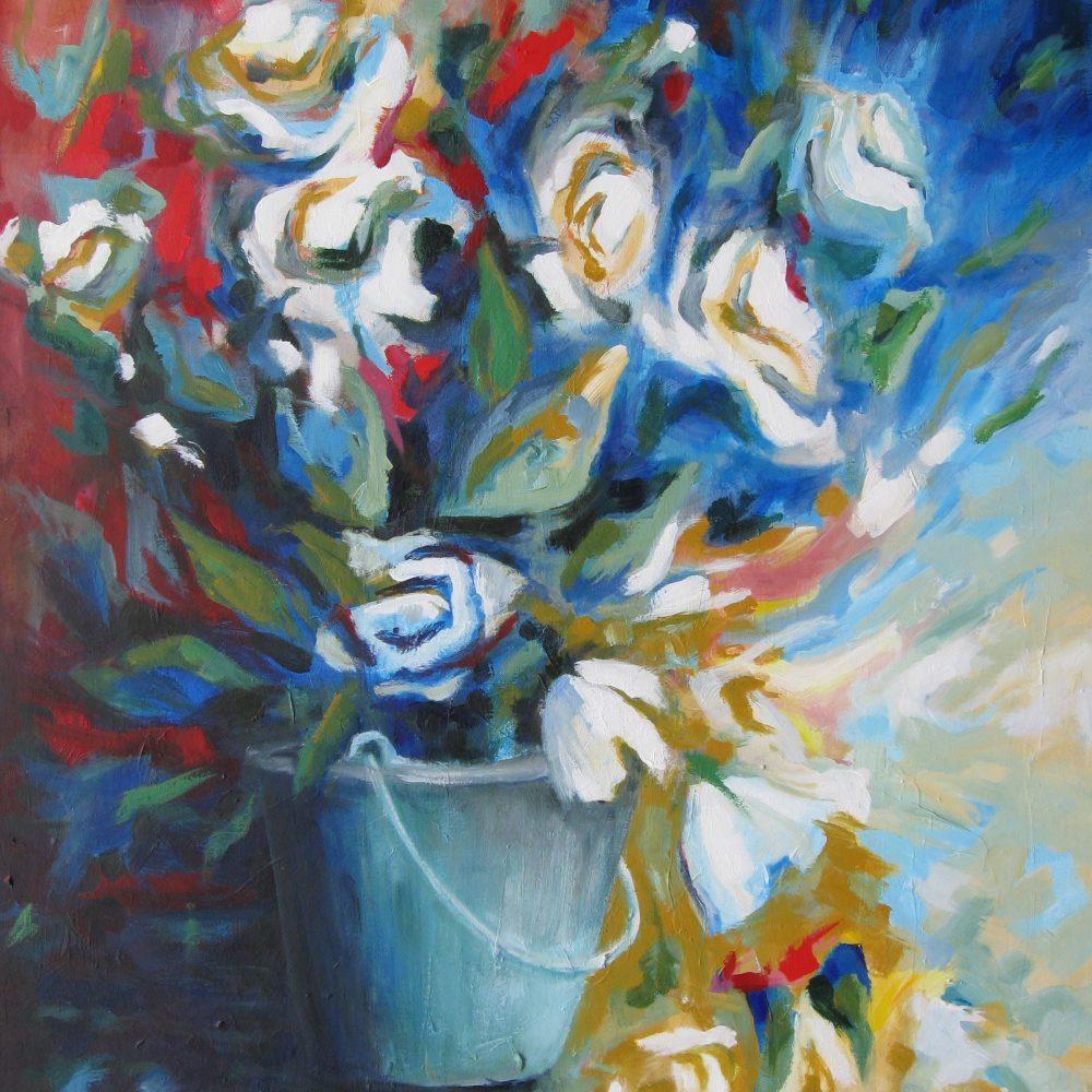 Emmer met witte bloemen