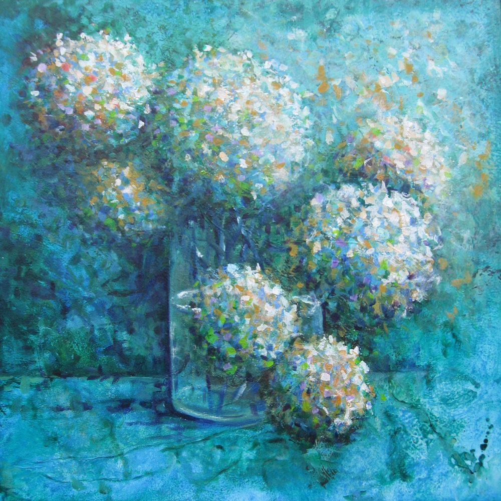Hortensia's in blauw