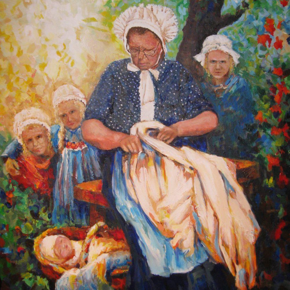 Oma met kleinkinderen