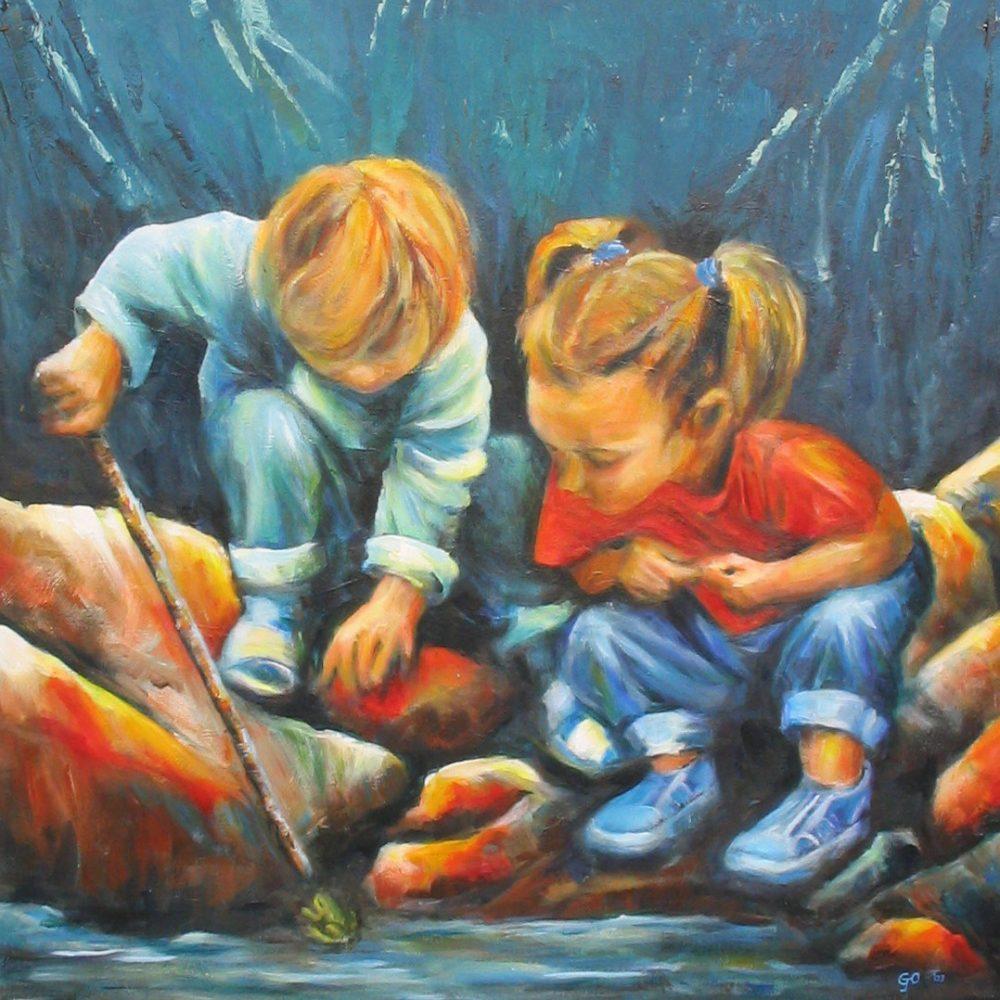 Twee kinderen en een kikker