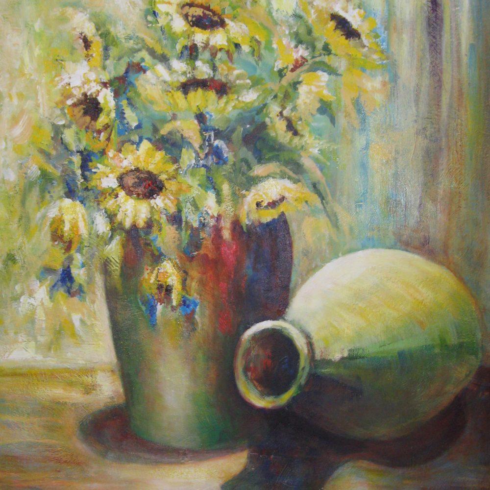 Vaas met zonnebloemen