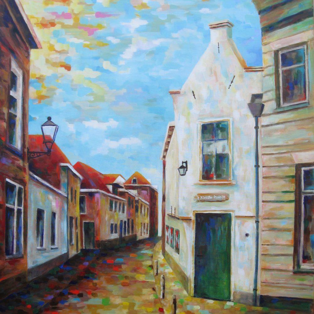 Het kleinste huis van Kampen 100 x 120 cm.